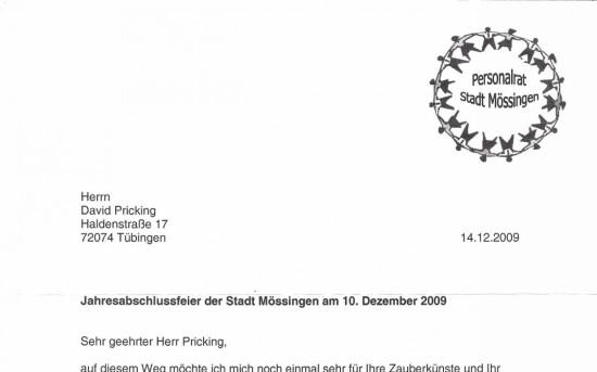 Jahresabschlussfeier der Stadt Mössingen