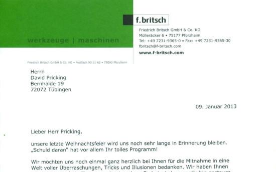 Weihnachtsfeier der Firma Friedrich Britsch GmbH & Co. KG