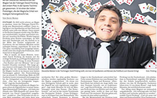 Stuttgarter Nachrichten über David Pricking
