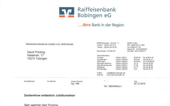 Jubiläumsfeier Raiffeisenbank Bobingen eG
