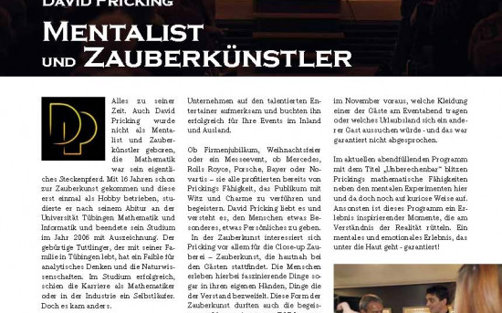 Top-Magazin über Mentalist David Pricking