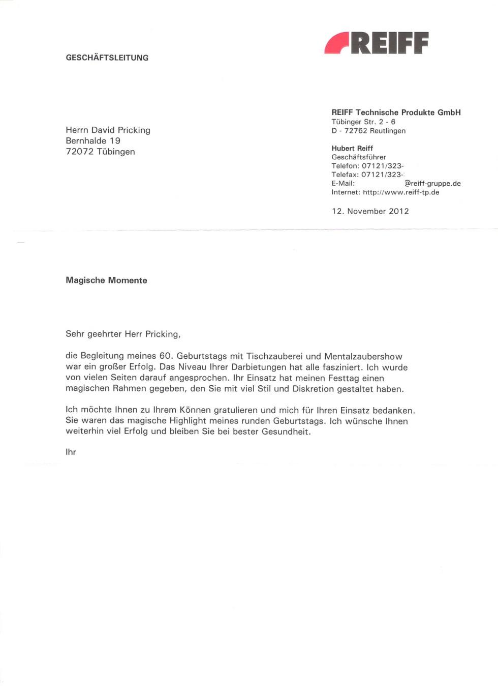 Privater Geburtstag von Hubert Reiff - Zauberer und Mentalist David ...